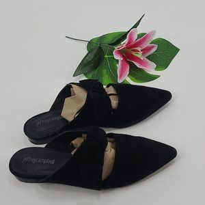 Jeffrey Campbell charlin black tie suede mules.